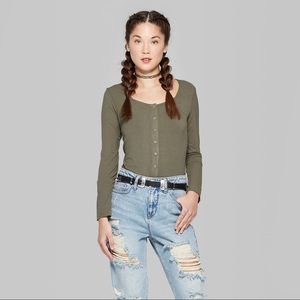 Wild Fable Snap Front Long Sleeve Top